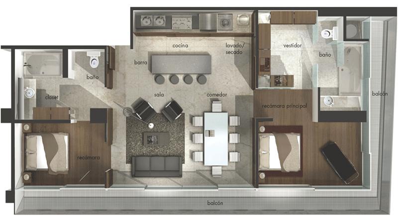 Tinas De Baño Dimensiones:Suites y Departamentos en Renta Polanco Masaryk 123 CM3 100 M2